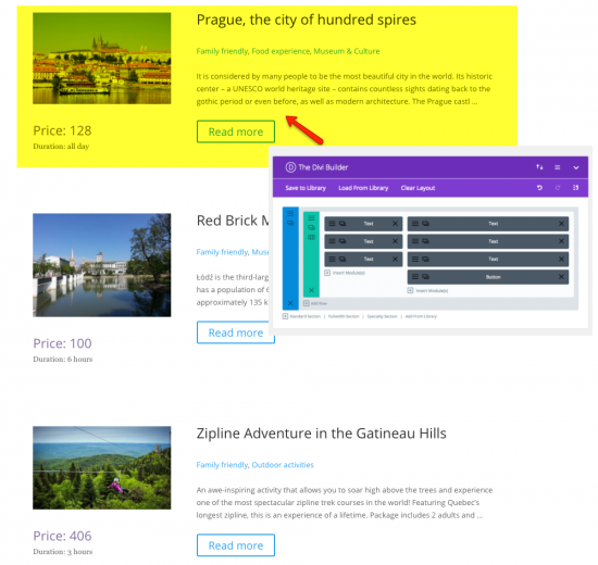 "A list of custom ""Tour"" posts created using Toolset and Divi"