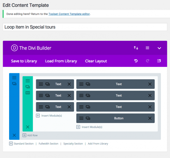 Final template created using Divi Builder and Toolset