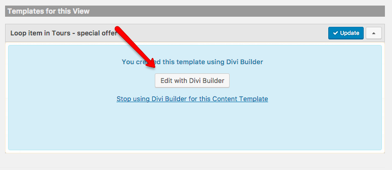 Editing a template using the Divi Builder