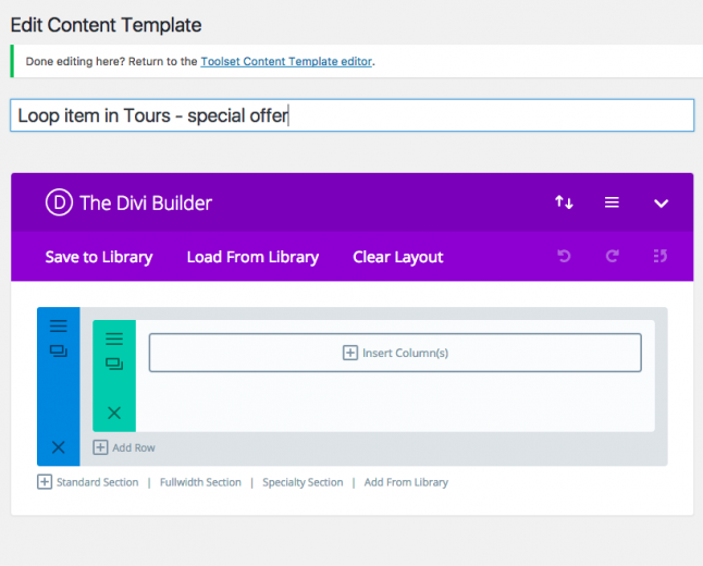 Divi Builder interface when editing a template for your custom post types