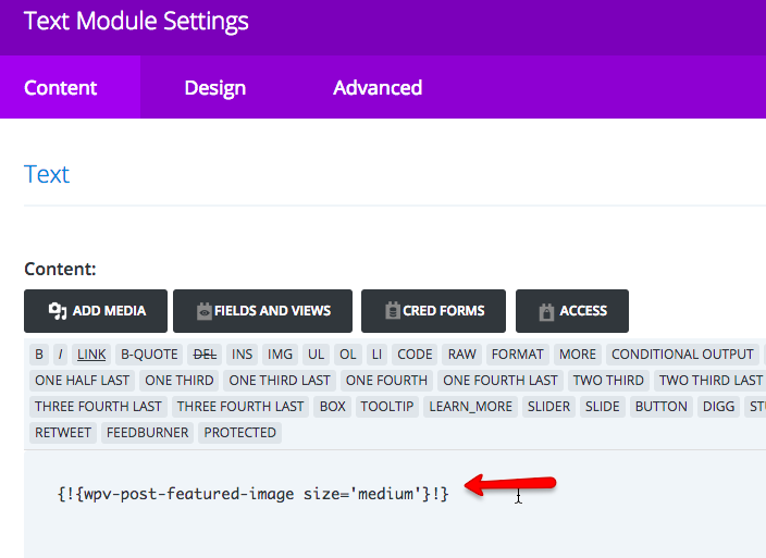 Field shortcode inserted into a Divi module