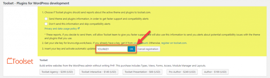 Paste the site key to register
