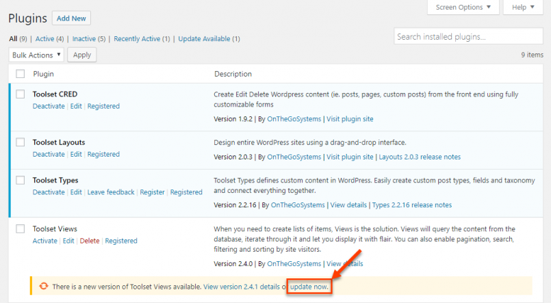 Updating registered Toolset plugins from the Plugins page