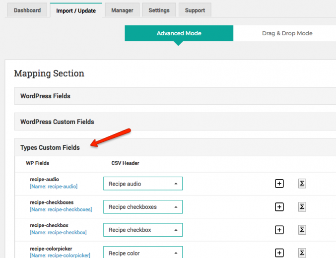 Using the WP Importer Custom fields extension you can import Types Custom Fields from a CSV file into your Toolset-based site