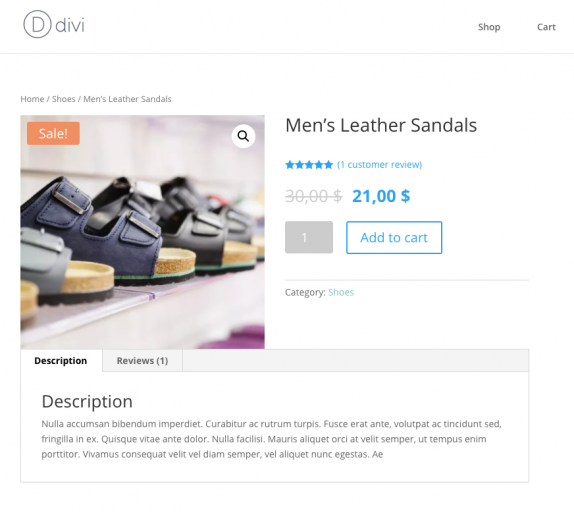 Default WooCommerce template