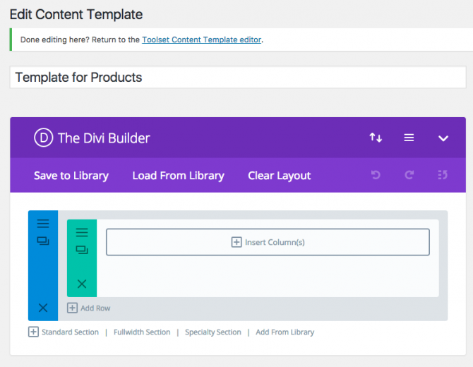 Divi Editor in a Content Template