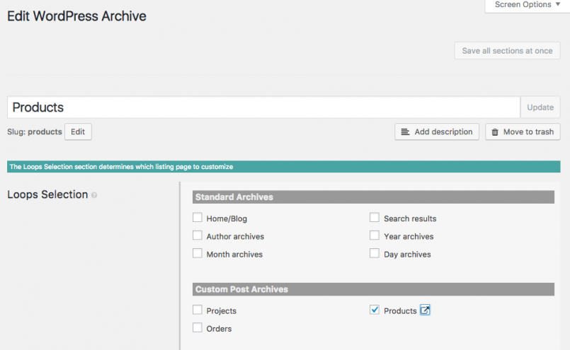 Edit WordPress Archive screen