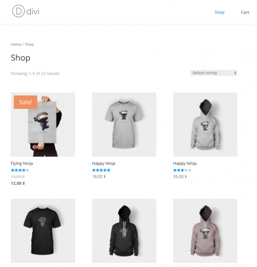 Default Shop page