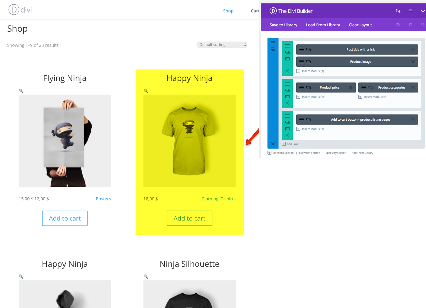 Creating a custom Shop page for products using Divi Builder