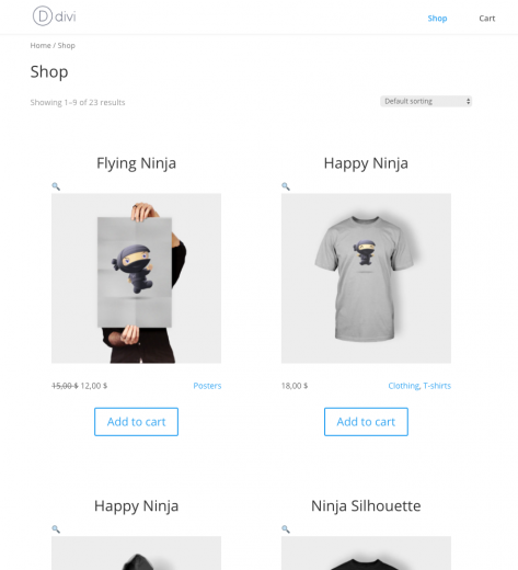 Shop page on the front-end