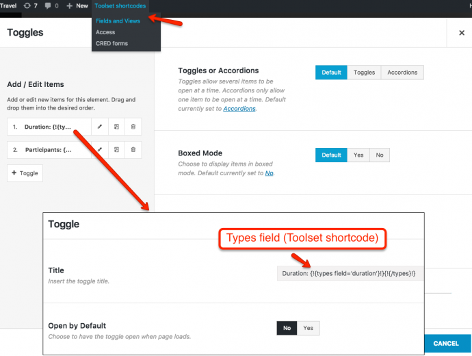 How to use Toolset shortcodes as arguments in your page builder elements