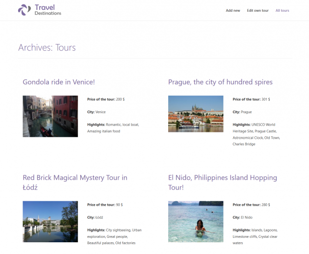 """An archive page for a """"Tours"""" custom post type designed with Beaver Builder"""