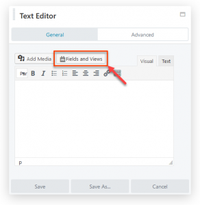 Fields and Views Button In The Text Editor Module's Dialog Box