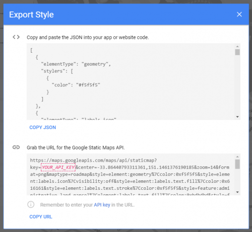 A styling file generated using Google Styling Wizard