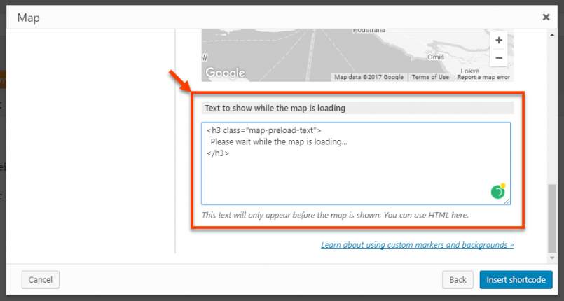 Setting up a message to display while map is loading