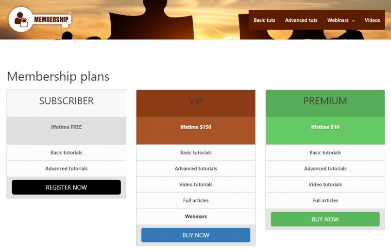 Three types of membership plans