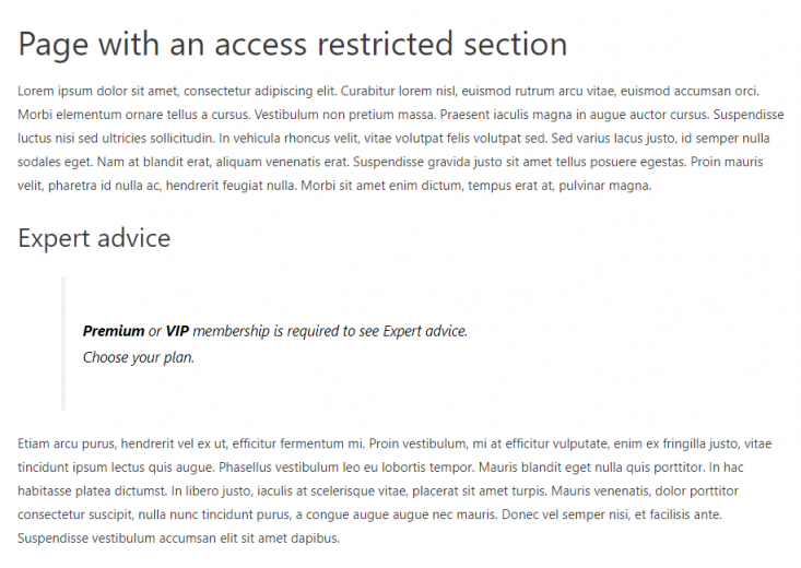 Page with an access restricted section