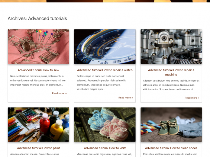 An archive page that partly displays some of the featured articles