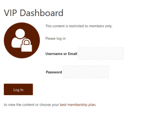 Unprivileged users will see a custom template with a message followed by a login form.