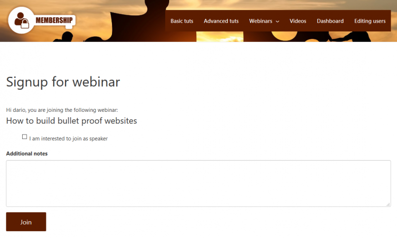 Form for signing up to webinars