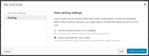 Turning off caching when inserting a View