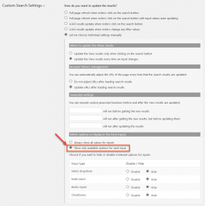 Manually setting the options for a custom search