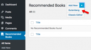 What is desired: to be able to open your Book post in the Gutenberg Editor