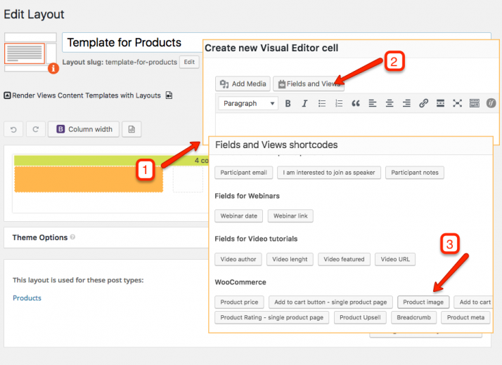 How to add cells with WooCommerce fields to your template