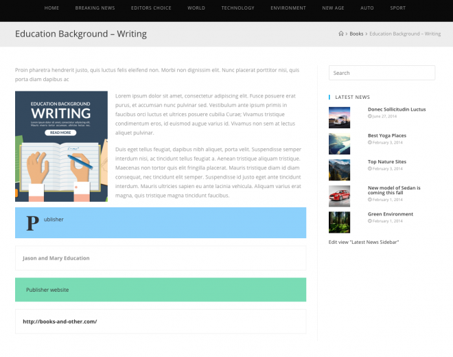 Example content template designed using Gutenberg Editor (front-end view).