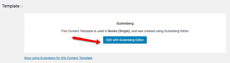Click Edit with Gutenberg
