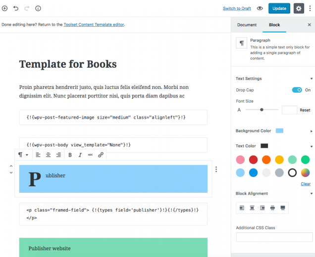 Example of a content template designed using Gutenberg Editor.