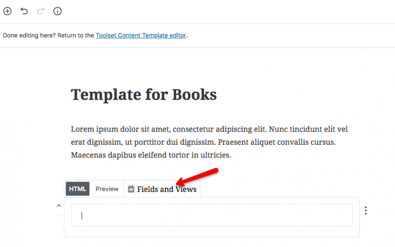 Use the Fields and Views button in the Custom HTML block to insert custom fields and post meta-information.