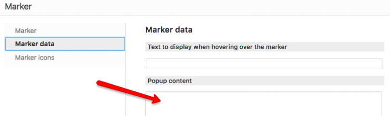 Where to set up your custom content to appear in the marker pop-up