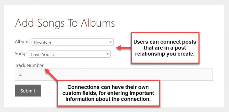 CRED Relationship Forms allow you to connect related posts from the front-end