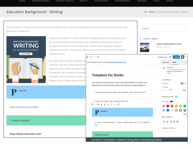 When you design content templates, you can also use the Gutenberg Editor.