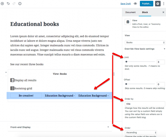 """View block displaying """"Books."""" We limited the number of books displayed to three and changed the default order by using block attributes."""