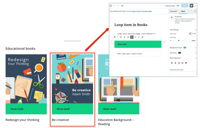 View displaying books. A single book item was created using the Gutenberg Editor.