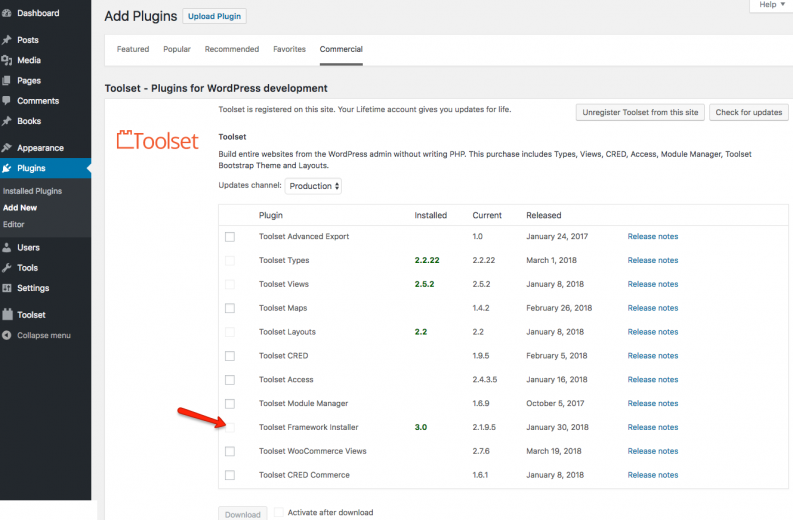 Using the Commercial tab in Plugins -> Add New is the fastest way to install all required Toolset plugins.