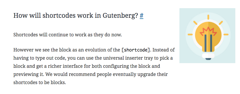 How will shortcodes work in Gutenberg