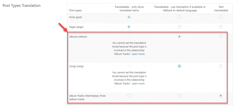 Setting translation options for related post types