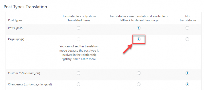 Setting the translation option for the post type associated with your repeatable field group