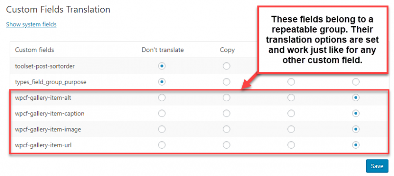Setting the translation options for each custom field belonging to your repeatable group