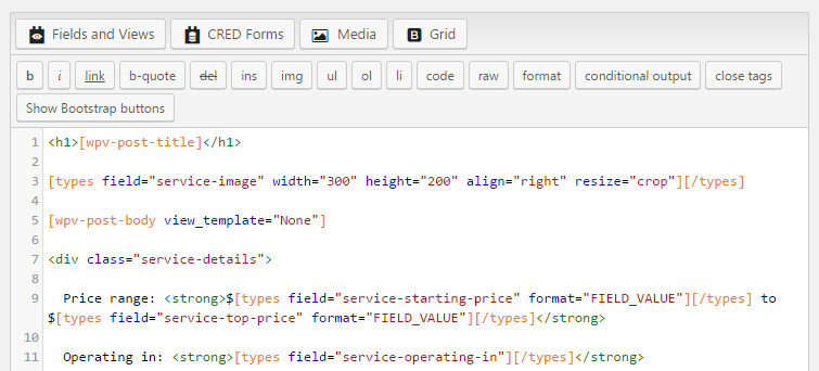 Template editor with some custom HTML markup