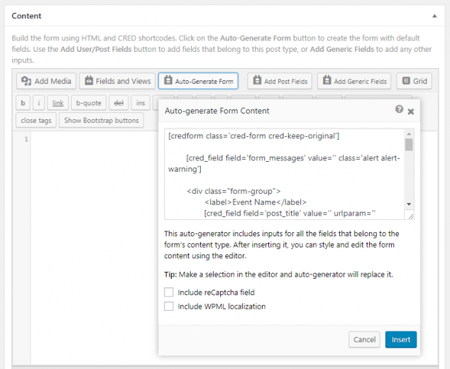 Auto-generating the form.
