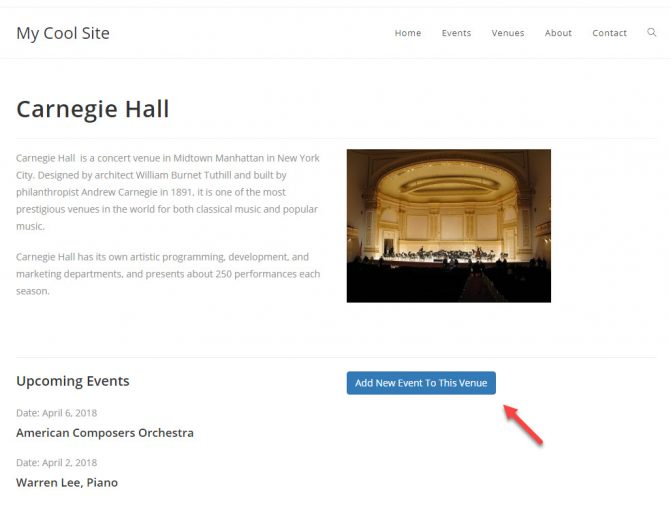 Venue post on the front-end with a link to a form for adding Events to the post.