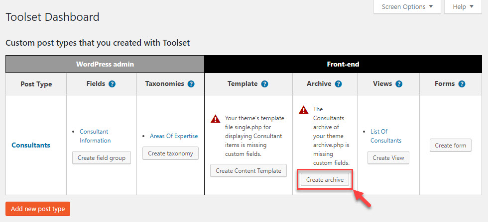Creating a custom archive page from the Toolset Dashboard page