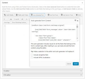 Form Auto-generation Feature In Post Forms
