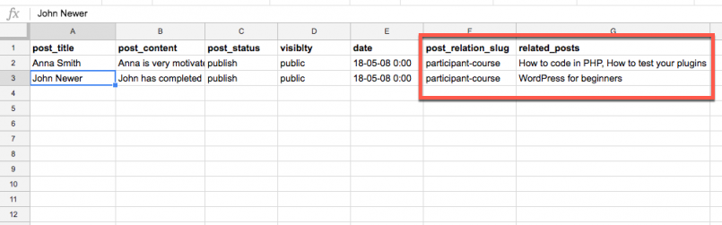 CSV file with post relationships