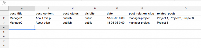 One-to-many relationships – CSV file