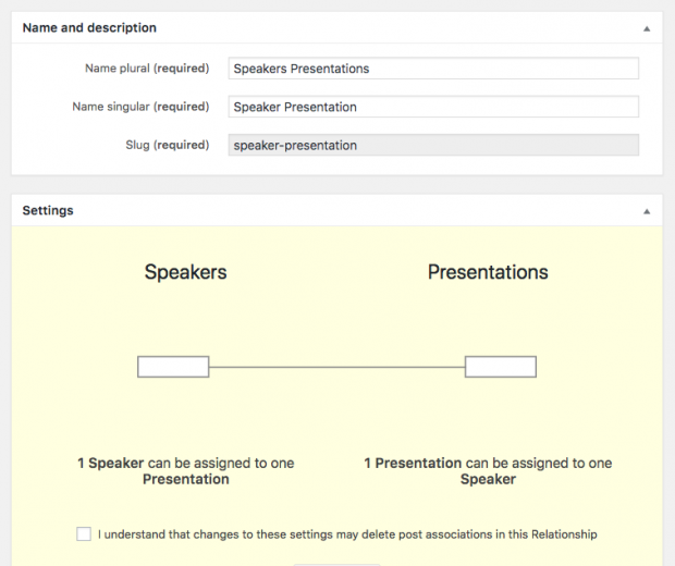 Speakers and presentations - One-to-one relationship